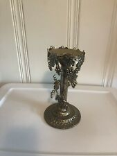 """Vintage Silver Plate Candle Stick Holder Grape Vine Leaves Silverplate 9.5"""" Tall"""