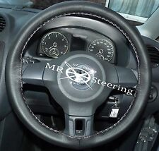 FITS VW POLO MK5 6R 2009+ BLACK ITALIAN LEATHER STEERING WHEEL COVER GREY STITCH