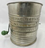 Vintage Bromwell's 5 Cup Flour Sifter Metal Handle Green Knob Handle Made USA