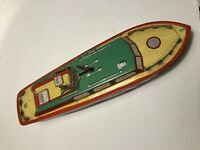 """VINTAGE METAL J. CHEIN WIND UP TOY MOTOR BOAT 15""""- for parts or repair"""