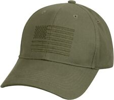 Olive Drab American Flag Embroidered Low Profile Baseball Cap US Flag Hat