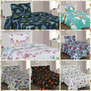 KIDS SHEET COMPLETE SETS AND SHAMS PRINTED DESIGN FLAT, FITTED SHEET AND SHAMS