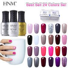 Gel Nail Polish 24 Colors Set Sealer Primer 50Pcs Remover Wraps Manicure Kit HNM