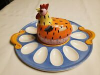 Pfaltzgraff Pistoulet 12 Slot 3 Piece Nesting Hen Deviled Egg Set Whimsical Blue