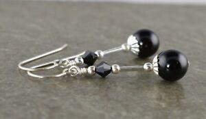 Black Onyx Gemstone, Crystal & Sterling Silver Drop Earrings with Gift Box