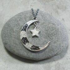 Black & White Crescent Moon Star Pendant Necklace Antique Silver