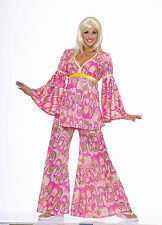 Women's Flower Power Hippie Costume 60's Mod 1970's Adult Size Standard