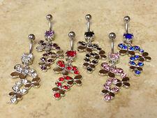 6pc Triple Butterfly Steel Navel Rings Belly Naval Wholesale Body Jewelry (B100)