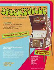 ALLIED SPOOKSVILLE NOS ORIGINAL FLIPPER PINBALL MACHINE SALES FLYER 1973