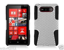 Nokia Lumia 820 Mesh Hybrid Hard Case Skin Cover Accessory White/Black