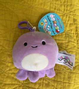 """Squishmallows 3.5"""" Violet the Octopus Clip-On NWT Fast Shipping! KellyToy"""
