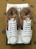 New Gucci Mens Trainers Sneakers Shoes White Leather Ace UK 7 US 8 EU 41 Fur Web