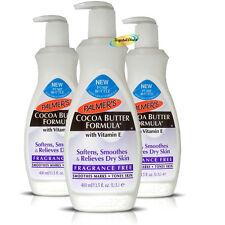 3x Palmers Cocoa Butter Formula Moisture Fragrance Free Lotion Vitamin E 400ml