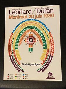 Rare 1980 Original Sugar Ray  Leonard Vs. Roberto Duran Boxing Seating Chart