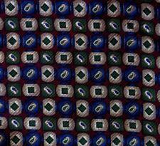 Maroon, Blue, Green Paisley SELAVI Half Ascot Cravat SILK Hand Made in Italy