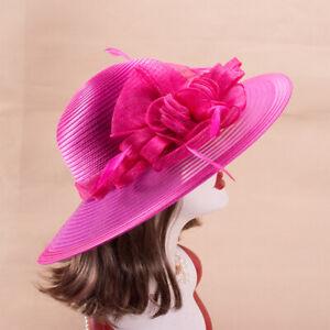 Womens Church Kentucky Derby Carriage Wedding Satin Ribbon Sinamay Hat X767