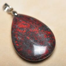"Extremely Red Natural Bloodstone Jasper 925 18K WG Clasp 1.5"" Pendant #P12898"