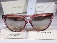 $260 New Authentic Valentino Oversize Sunglasses Pink Coral Gray Mirror Gradient