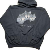 Gildan Mens XL Rocky Mountain National Park Graphic Wolf Hoodie Sweatshirt Black