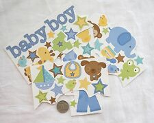 SCRAPBOOKING NO 286 - 12 plus BABY BOY CARD STOCK STICKERS
