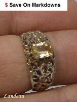 2.4 ct Royal Imperial Topaz Art Nouveau Silver Ring