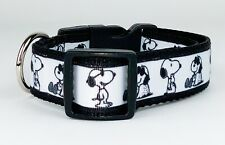 "Snoopy dog collar handmade adjustable buckle collar 1"" or 5/8"" wide or leash"