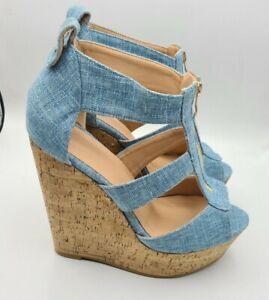 Zipper front denim   cork wedge summer sandals  Size 15