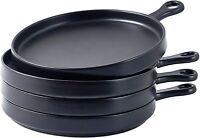 Bruntmor Porcelain 8 Inch Round Dinner Plates Set of 4 Serving Plates Black