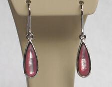 ECHT WEISSGOLD *** Ohrringe Ohrhänger mit pink Perlmutt, 30 mm