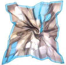 "Designer SATYA PAUL Geometric ABSTRACT Gray BLUE Sheer Chiffon Silk 42"" Scarf"