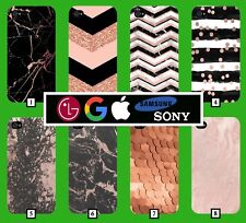 Rose Gold Phone Case Cover Glitter Marble Nokia Google iPhone Samsung HTC LG 107
