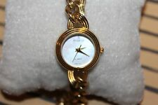 VINTAGE LADY PEUGEOT GOLD AND SILVER TONE CHAIN BRACELET WRIST WATCH F77