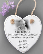 Personalised Hanging White Wooden Heart Wall Plaque Sign 16th birthday present