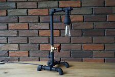 Table Lamp Industrial style Edison Iron Pipe Vintage Loft Handmade Flat Black