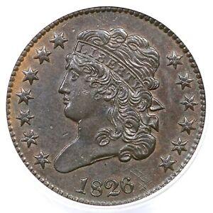 1826 C-1 ANACS AU 58 Classic Head Half Cent Coin 1/2c