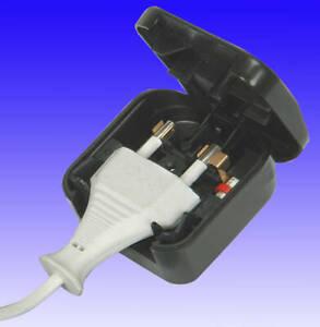 NEW ADAPTOR PLUG converts EURO 2 Pin to UK 3 Pin 5A fused.240v BLACK
