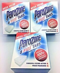 3 x BOXES OF PARAZONE TOILET LIMESCALE REMOVER FIZZ TABS 8's PARAZONE cheapest