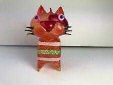 Cat Figural Glass Christmas Ornament Hand Blown Orange Kitten Mid Century