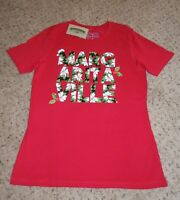 Margaritaville Womens Red T Shirt Poinsettia Christmas Floral Medium NWT