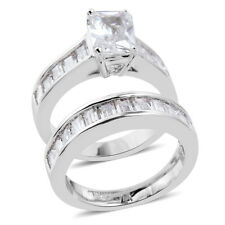 Ring Set Size 7 Silver Tone White Diamond Simulated Engagement & Wedding Band