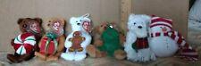 Set of 6  2005 Jingle Beanies plush toys hanging decorations (LOT)