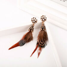 Boucles d'oreilles Doré Chandelier Plume Orange Rouge Croix Perle Blanc XX35