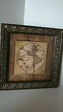 Beautifully Framed Old World Map Replica