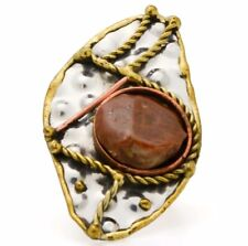 Agate Ring Fashion Jewelry Brass Rings Boho Two Tone Hammered Wire Wrapping Ring
