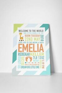 Personalised new baby boy girl canvas print Christening Nursery wall art A3 size