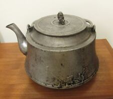 Vintage Japanese aluminum kettle tetsubin with crane lead
