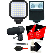 Compact LED Light + Slave Flash + Microphone + Top Cleaning Kit for Canon Camera