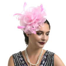 Pastel Pink Floral Feather Fascinator Clip on or Headband Melbourne Cup Race Day