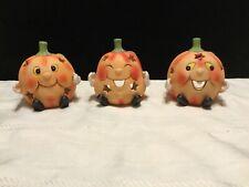 Set of 3 Ceramic Pumpkin tealight candle holder Halloween Decoration Decor