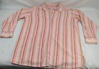 Dress Barn Woman 14/16 White Orange Vertical Stripe long Sleeve Button Down
